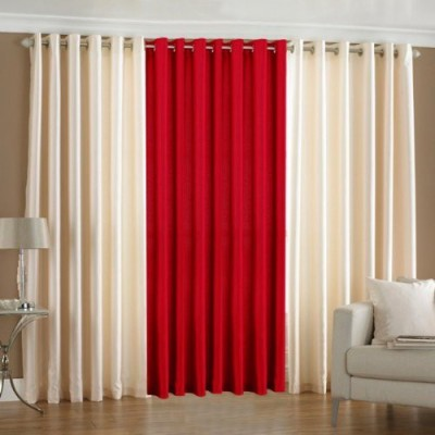 sajaawat Polyester WHITE:RED Solid Eyelet Door Curtain