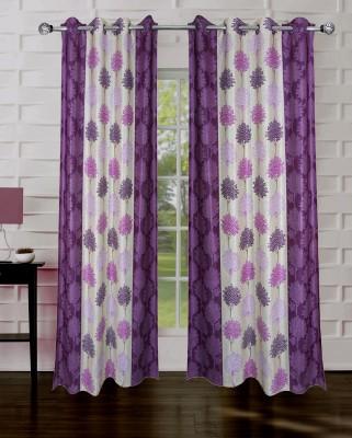 Rayon Casa Polyester Purple Printed Eyelet Door Curtain