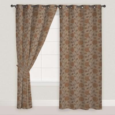Presto Polyester Brown Solid Eyelet Door Curtain