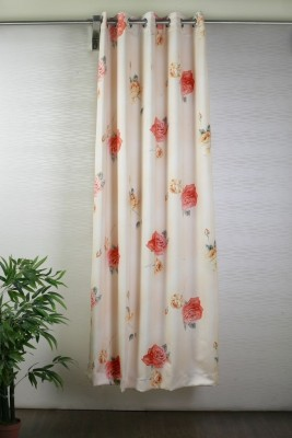 Bloom Polyester Peach, Red Floral Eyelet Door Curtain