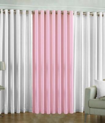 The Decor Hub Polyester White, Baby Pink Plain Eyelet Door Curtain