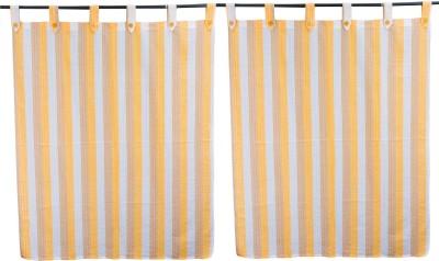 Shresabthahiriclothing Cotton Multicolor Striped Tab Top Window Curtain