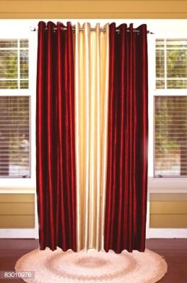shoppeholics Polyester Red & Cream Plain Curtain Door Curtain