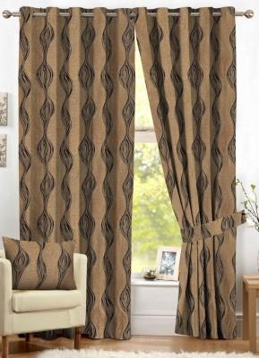 NuHome Decor Polyester Brown Geometric Eyelet Door Curtain