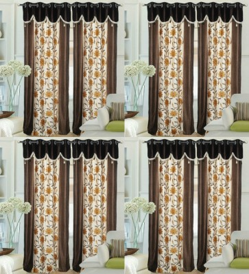 Decor Vatika Polyester Brown Abstract Eyelet Door Curtain