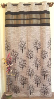 Trendy Home Jacquard Black Floral Eyelet Door Curtain