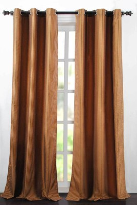 Deco Essential Polyester Bright Gold Plain Eyelet Window Curtain