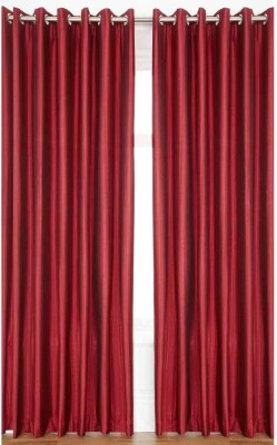 Sls Dreams Polyester Maroon Plain Eyelet Window Curtain