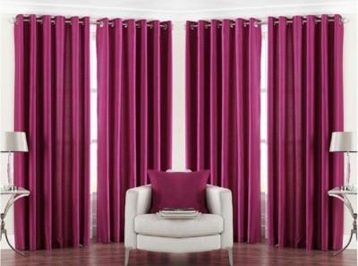 Daddu Enterprises Polyester Pink Plain Eyelet Window Curtain