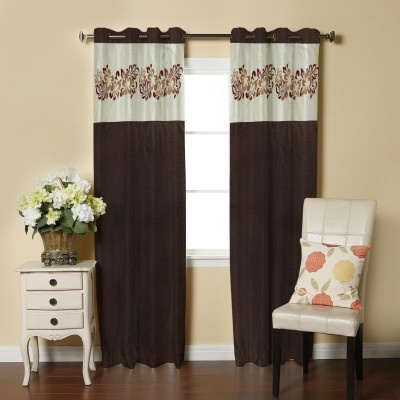 Abhi Décor Polyester Brown Embroidered Curtain Window Curtain