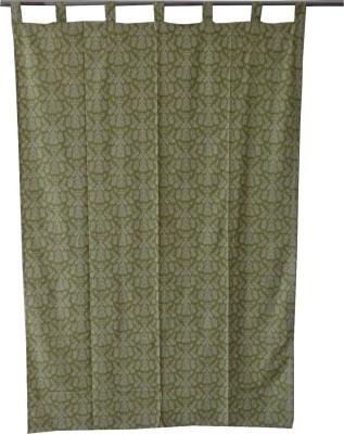 Adt Saral Cotton Green Printed Eyelet Door Curtain
