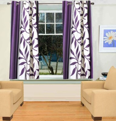 Trendy Home Polyester Purple Printed Eyelet Window Curtain