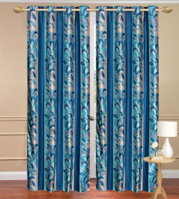 Daddyhomes Polyester Blue Floral Curtain Door Curtain