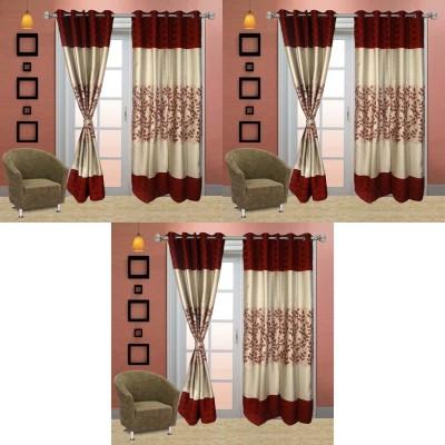 Go Decore Tissue Red Self Design Ring Rod Door Curtain