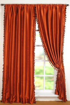 Deco Window Polyester Orange Striped Eyelet Window Curtain