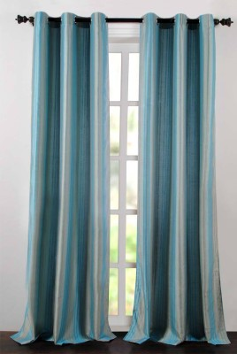 Deco Essential Polyester Light Blue Plain Eyelet Window Curtain