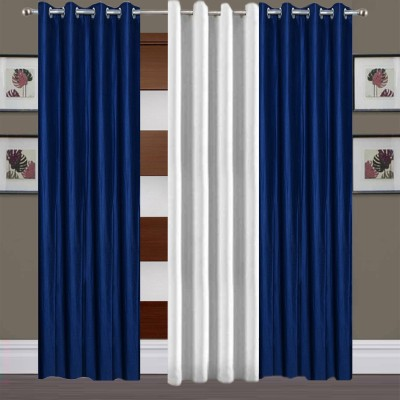 Thiwas Polyester Blue, White Plain Eyelet Long Door Curtain
