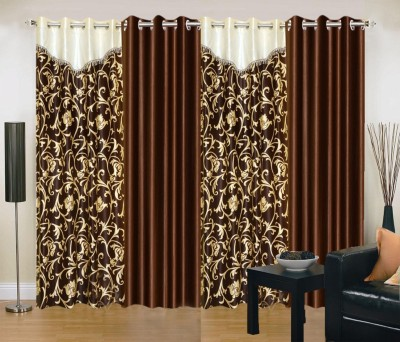 New Trends Polyester Brown Printed Eyelet Long Door Curtain