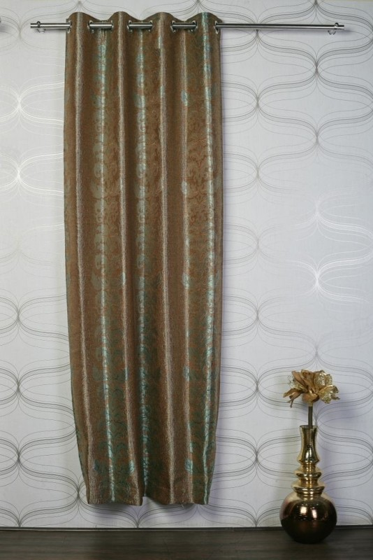 Puma Polyester Brown, Light Green Solid Eyelet Door Curtain 42098