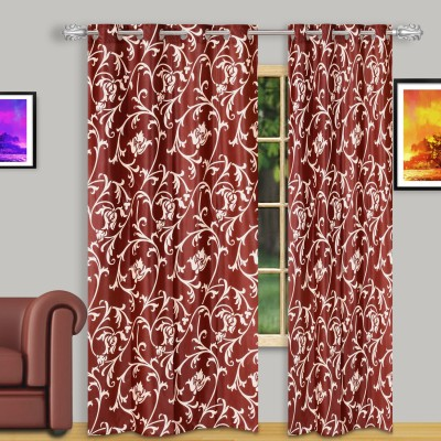 Dreaming Cotton Polyester Red Floral Eyelet Door Curtain