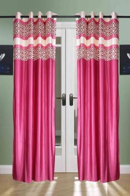the handloom store Polyester Pink Plain, Self Design, Geometric Eyelet Door Curtain