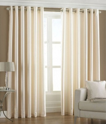 Shiv Fabs Polyester Beige Plain Ring Rod Long Door Curtain