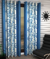 Home Pictures Polyester Blue Abstract Ring Rod Door Curtain(213 cm in Height, Pack of 2)
