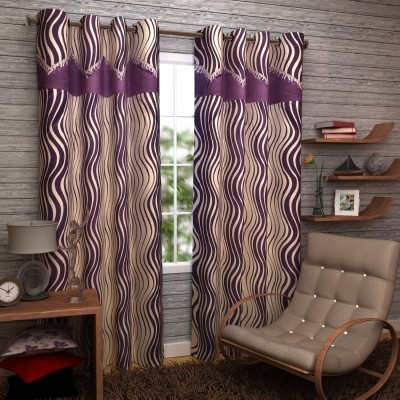 Enfin Homes Polyester Purple Abstract Eyelet Door Curtain