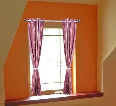 OsianArts Purple Floral Eyelet Door Curtain