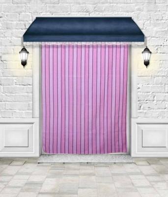 Lukluck Cotton Purple Abstract Ring Rod Door Curtain