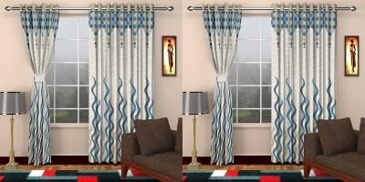 STC Jacquard Blue Self Design Eyelet Long Door Curtain