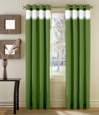 TT Polyester Green Solid Eyelet Door Curtain