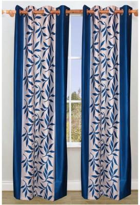 RK Home Furnishing Polycotton Navy Blue Plain Eyelet Door Curtain
