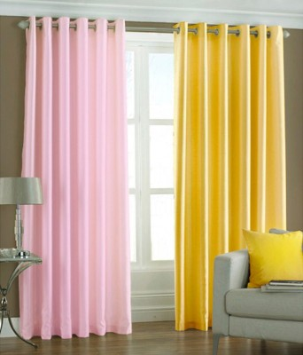 Sls Dreams Polyester Pink, Yellow Plain Eyelet Door Curtain