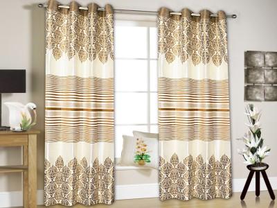 String Jacquard Mustard Floral Eyelet Window & Door Curtain