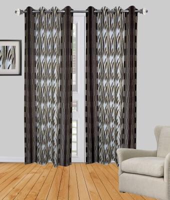 Rayon Casa Polyester Brown Printed Eyelet Door Curtain