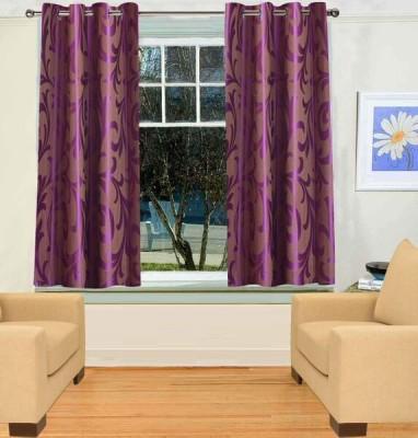 TT Purple Geometric Eyelet Window Curtain
