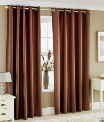 Sanaya Polyester Brown Solid Eyelet Door Curtain