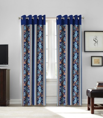 fflaunt Polyester Blue Printed Eyelet Window Curtain