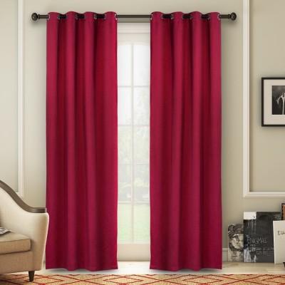 Soumya Polycotton Maroon Plain Eyelet Long Door Curtain