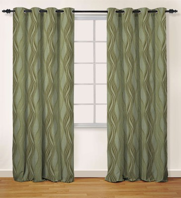 Oro Decor Polyester Cocoa Brown Abstract Eyelet Window Curtain