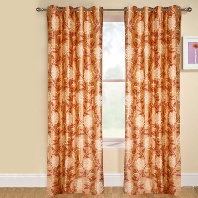 kaka furnishings Polyester Red Floral Eyelet Long Door Curtain
