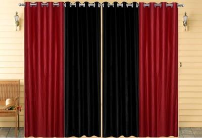 Thiwas Polyester Maroon, Black Plain Eyelet Door Curtain
