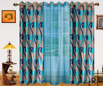 Dekor World Polyester Blue Abstract Eyelet Door Curtain