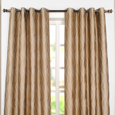 Deco Window Polyester Beige Floral Eyelet Window Curtain