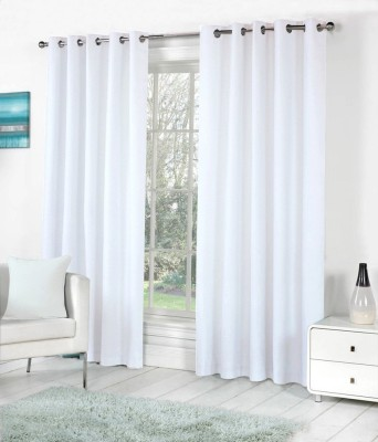 The Decor Store Polyester White Plain Eyelet Door Curtain