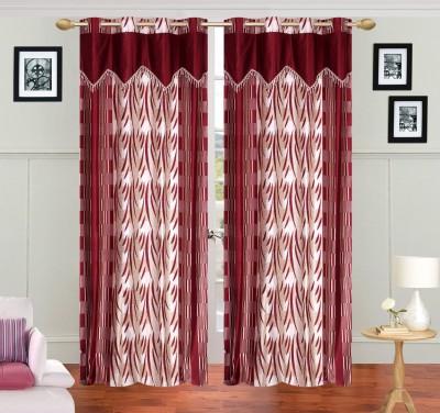 JH Polyester Maroon Self Design Curtain Door Curtain