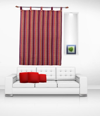 Lukluck Cotton Multicolor Abstract Ring Rod Window Curtain
