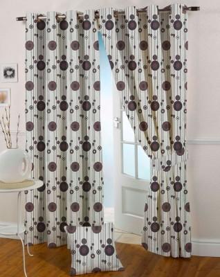 Presto Polyester Brown Solid Eyelet Long Door Curtain
