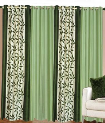 sajaawat Polyester Green Floral Curtain Long Door Curtain